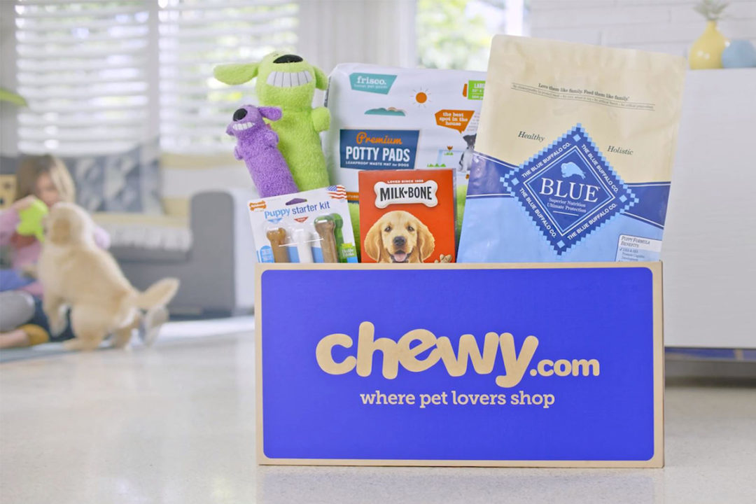 Pet food and toy products in Chewy subscription delivery box