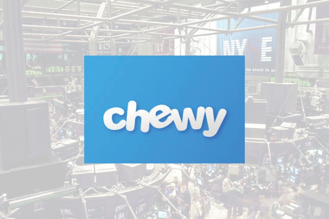 Chewy logo with NYSE background
