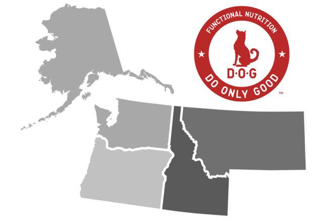D.O.G. Certified Pet Nutrition logo and map of Alaska, Washington, Oregon, Idaho and Montana (©STOCKR - STOCK.ADOBE.COM)