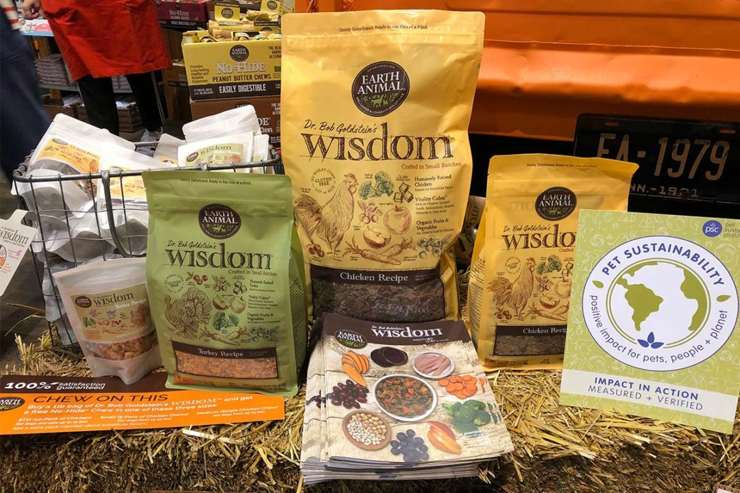 Earth Animal's display of its new Wisdom pet diet at its booth during Global Pet Expo 2019.