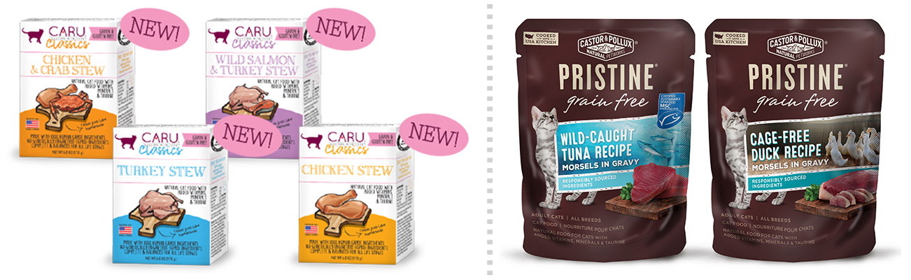 Caru cat stews and Castor & Pollux Pristine cat foods