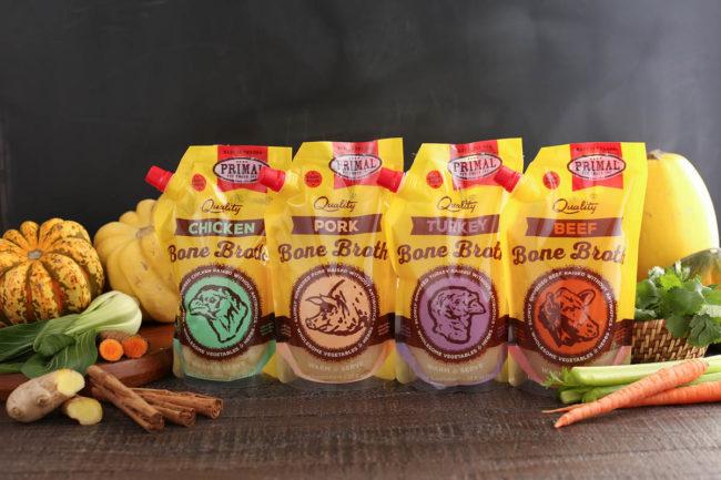 Primal Pet Foods bone broth in resealable packaging