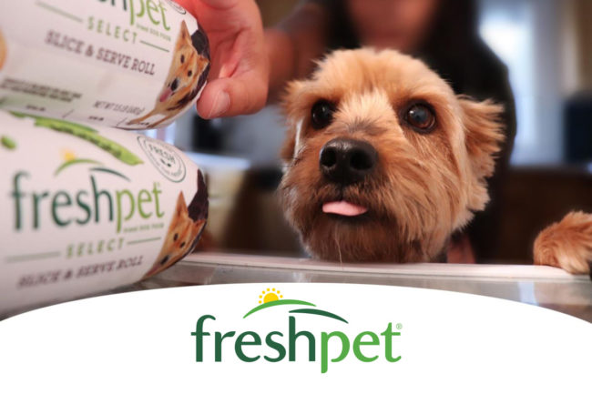 Freshpet logo, small dog with tongue out looking at Freshpet rolls in fridge.