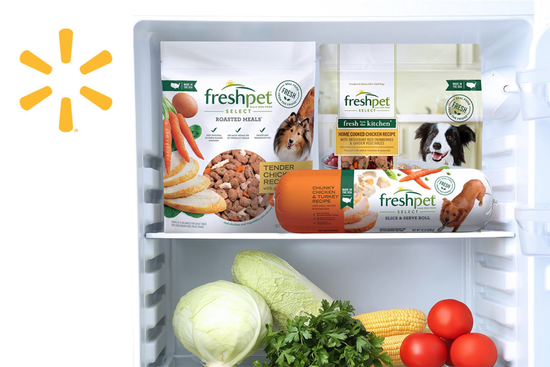Freshpet inside fridge and Walmart spark logo