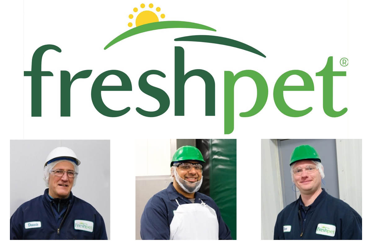 Freshpet logo, three members of Freshpet kitchen team: Dennis, Javier and Dave