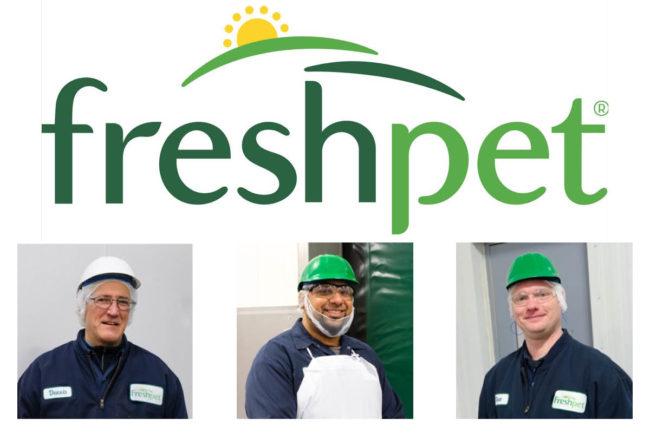 Freshpet logo, three members of Freshpet kitchen team: Dennis, Javier and Dave