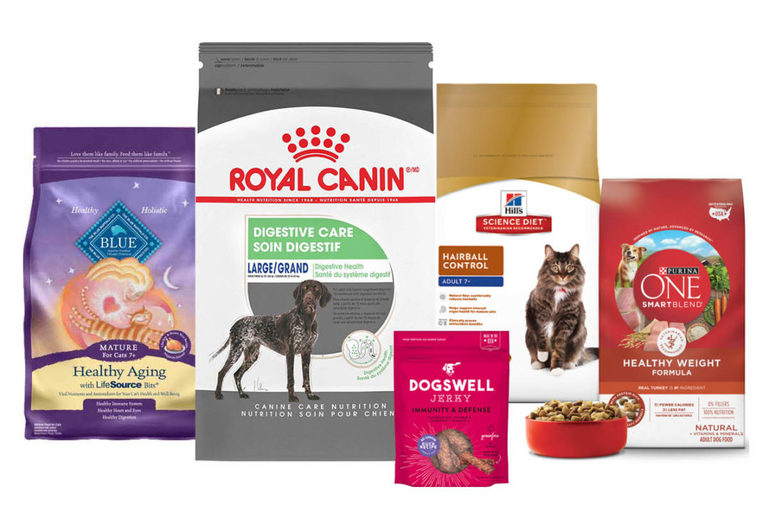 Left to right: Blue Buffalo Healthy Aging cat food, Royal Canin Digestive Care dog food, Dogswell Immunity & Defense Jerky, Hill's Science Diet Hairball Control cat food, PurinaONE Healthy Weight dog formula