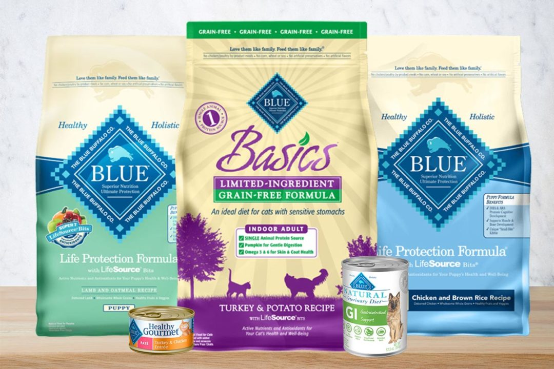 Blue Buffalo products: Life Protection formulas, Grain-Free Limited-Ingredient Basics cat food, Natural Veterinary Diet for dogs, Healthy Gourmet for cats