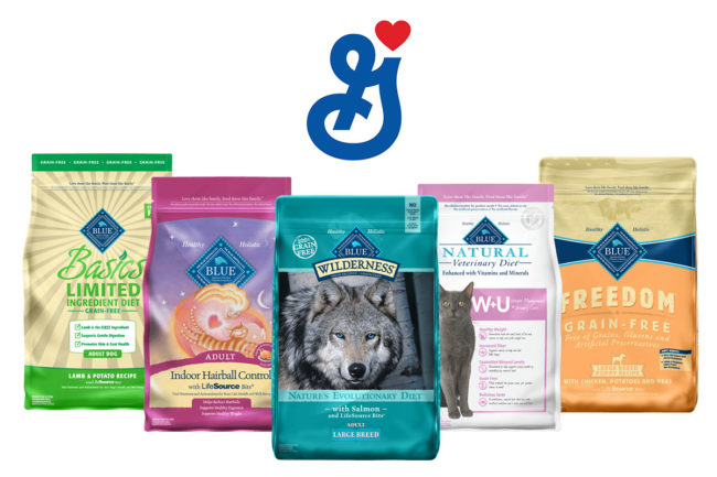 Blue Buffalo dog and cat food products and General Mills logo