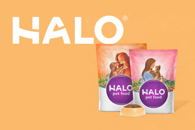 Halo logo and pet food bags graphic