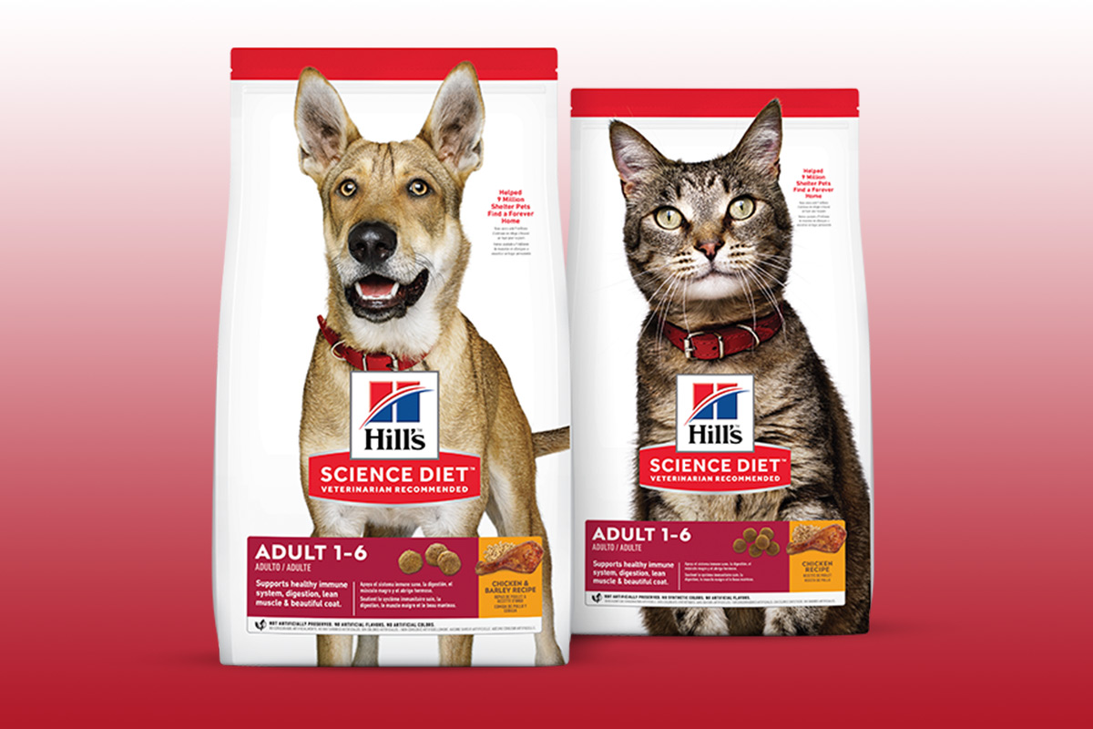 "Hill's new Science Diet packaging, ""Adult 1-6"" dog and cat formulas"