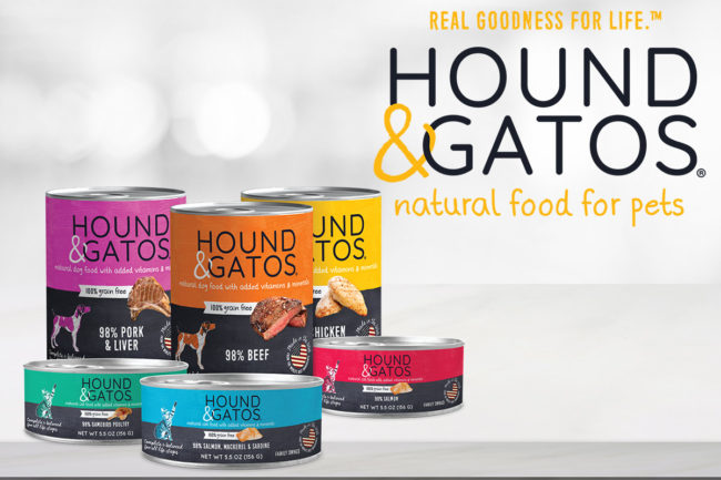 Hound & Gatos new logo and canned product packaging