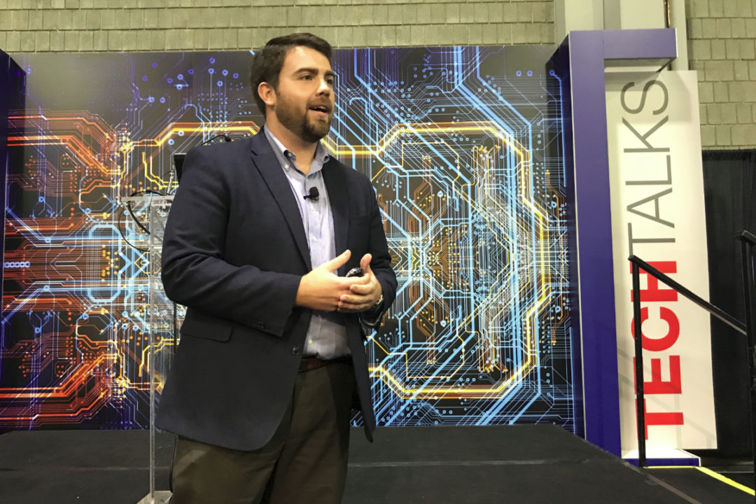 John Stewart, AFIA's new director of membership and stakeholder engagement, speaking at IPPE 2019 in Atlanta, Georgia.