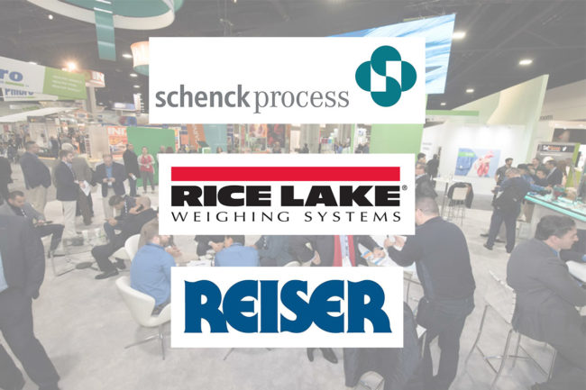 IPPE trade show floor from 2018 with Reiser, Rice Lake Weighing Systems and Schenck Process logos