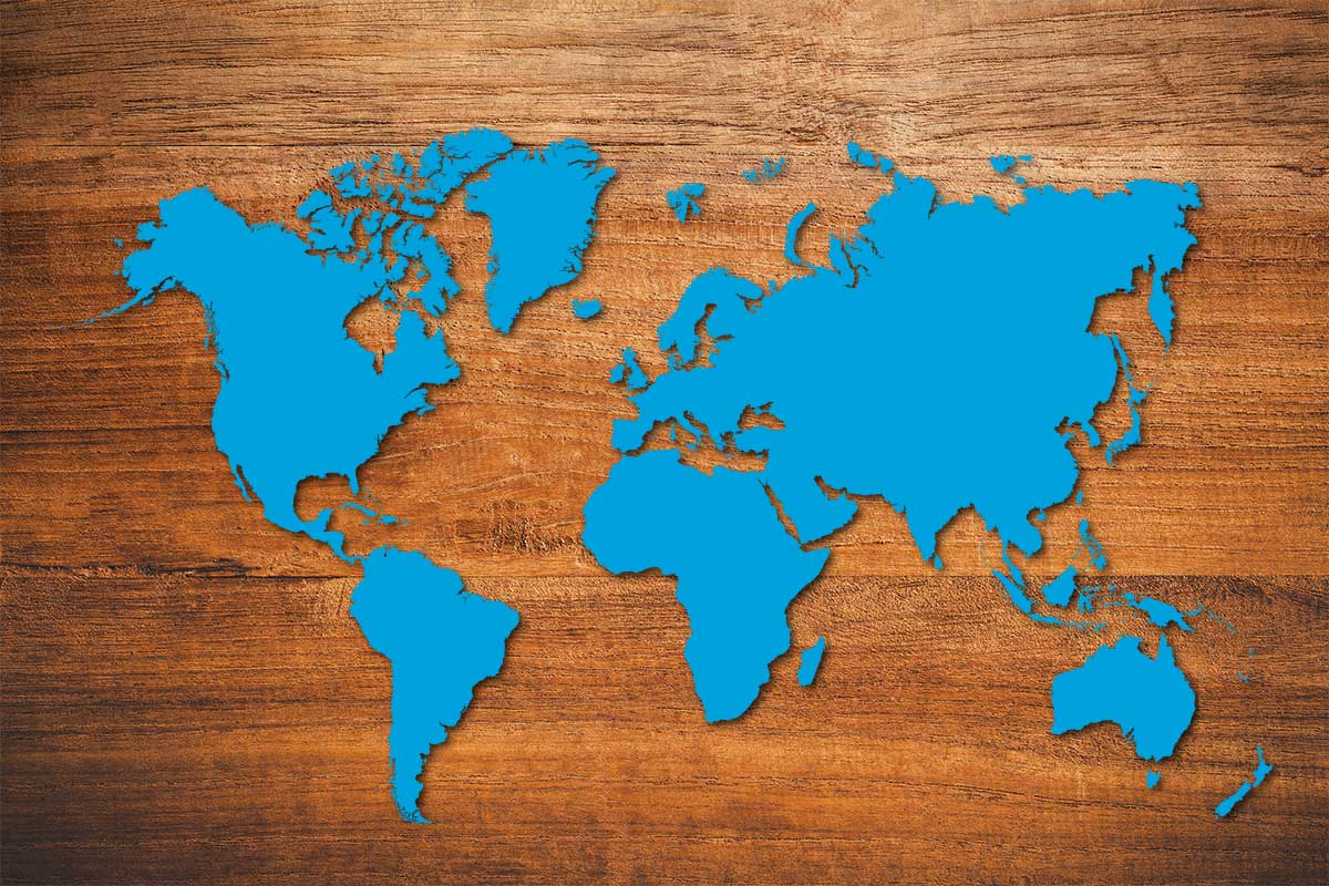 Blue map of the world on wood background (©STOCKR - STOCK.ADOBE.COM)