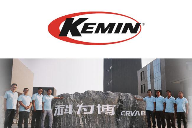 Kemin logo and CRVAB staff at facility in China