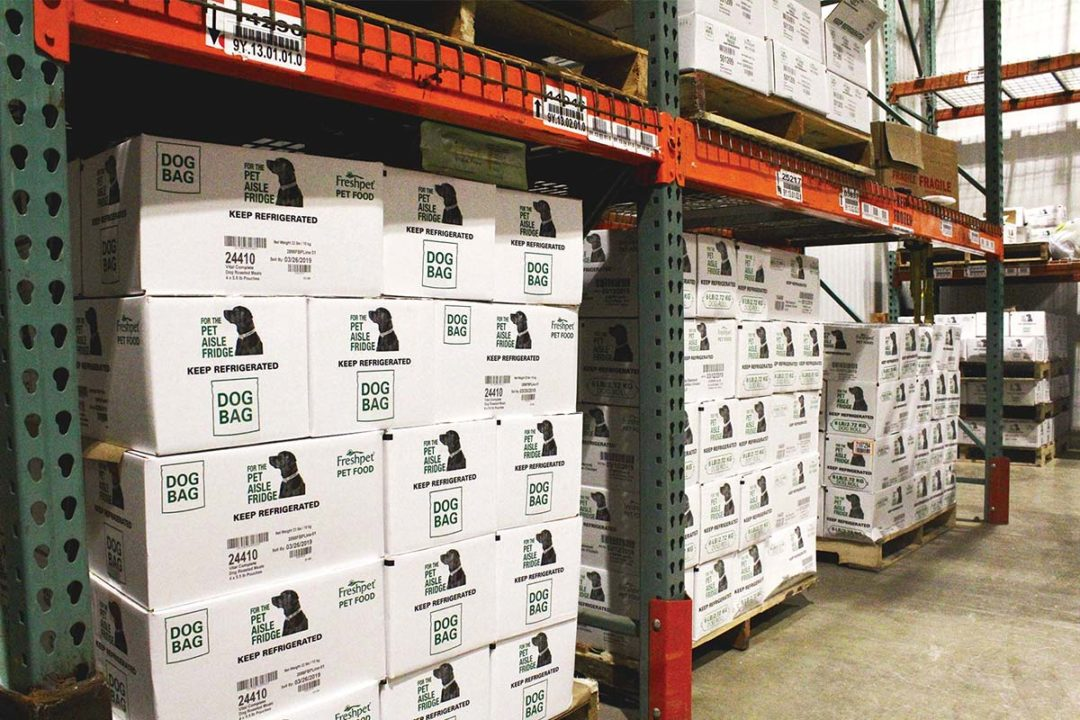 Boxes of Freshpet pet food in freezer waiting to be distributed