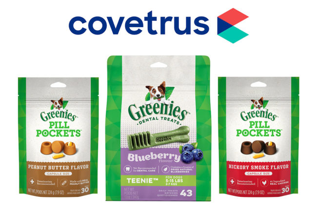 Covetrus logo and GREENIES products