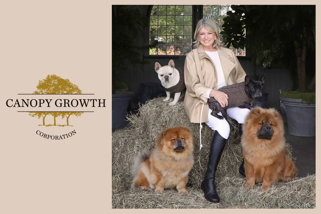 Canopy Growth logo; Martha Stewart with her four dogs