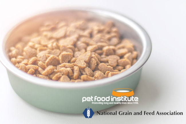 NFGA logo, PFI logo, bowl of dry kibble pet food (©STOCKR - STOCK.ADOBE.COM)