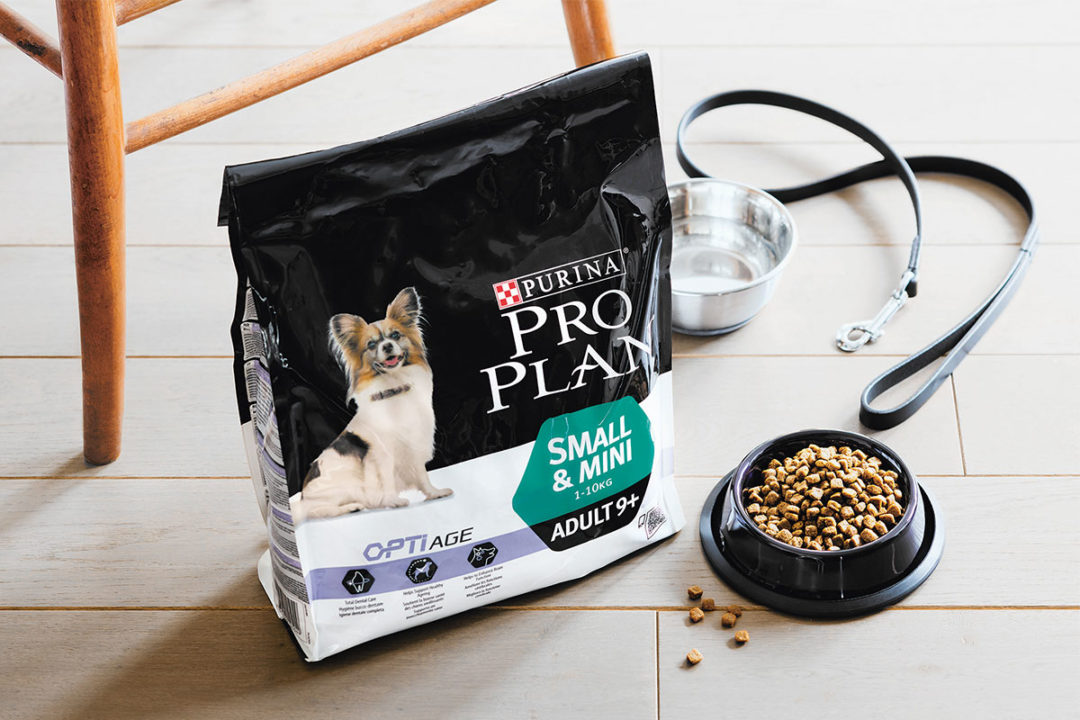 Nestle Purina Pro Plan, Small & Mini dog food formula for dogs 9-years-or-older.