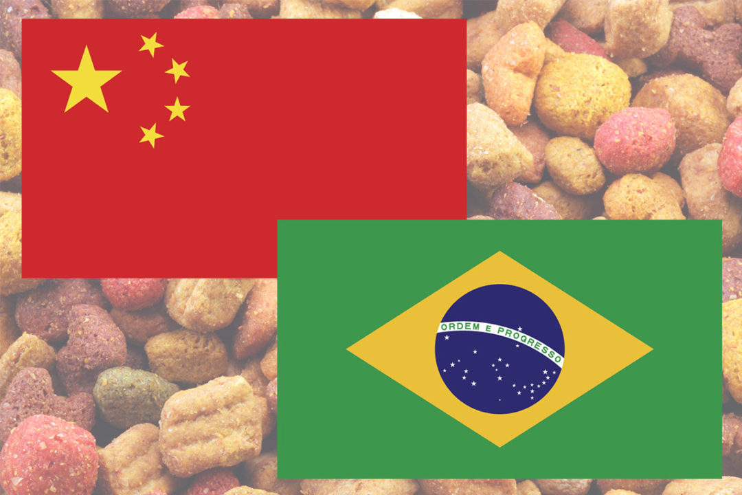 Brazilian flag, Chinese flag and dry kibble pet food in background