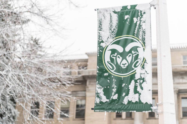 Wintery scene at Colorado State University campus