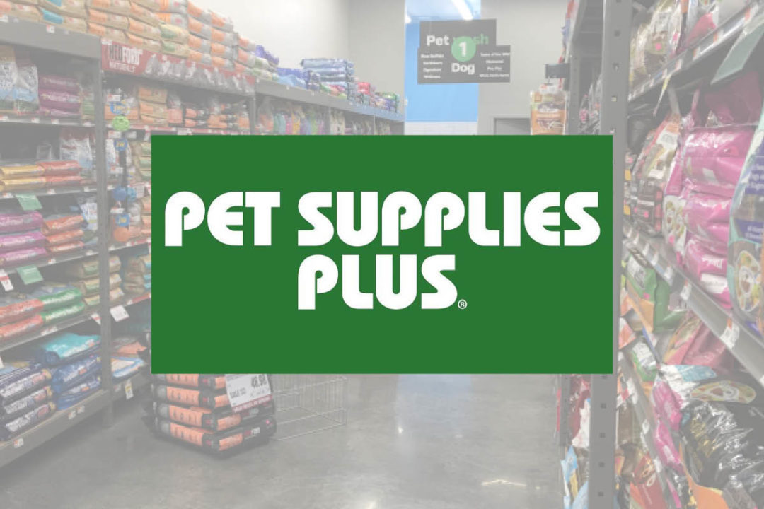 Pet Supplies Plus logo overlaid on photo of dog food aisle