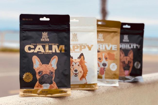 Pet-Ness CBD dog treats: CalmTreats, HappyTreats, ThriveTreats, MobilityTreats