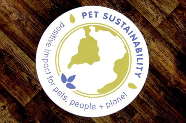 Pet Sustainability Coalition Positive Impact Program logo on the show floor of Global Pet Expo 2019