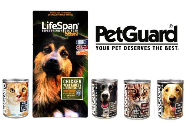 PetGuard dog and cat foods and logo