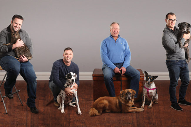 PetGuard's new executive leaders, from left: Cameron Palmer, VP of supply chain; Dave Fedorchak, VP of procurement and product development; Bill Shaner, managing partner and CEO, and Anthony Scarpino, CFO.