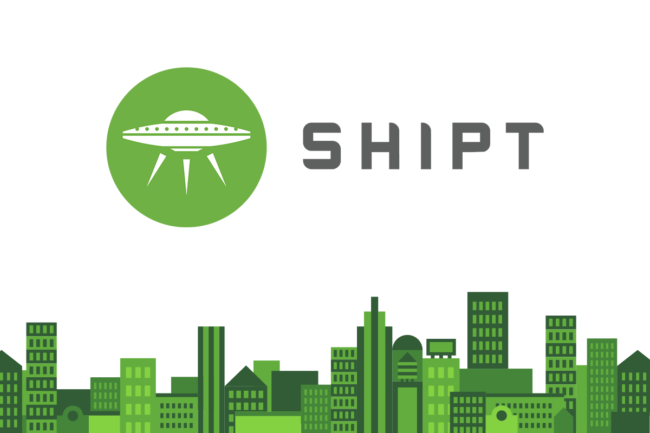 Shipt logo and green skyline graphic