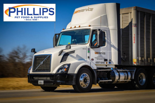 Transervice Logistics distribution truck with Phillips Pet Food & Supplies logo