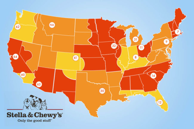 Phillips Pet Food & Supplies territory map of US distribution centers