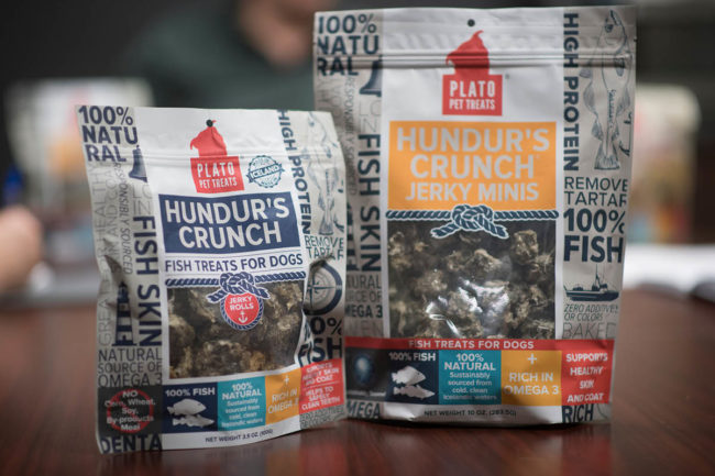 Plato Pet Treats' Hundur's Crunch fish treats and jerky treats for dogs