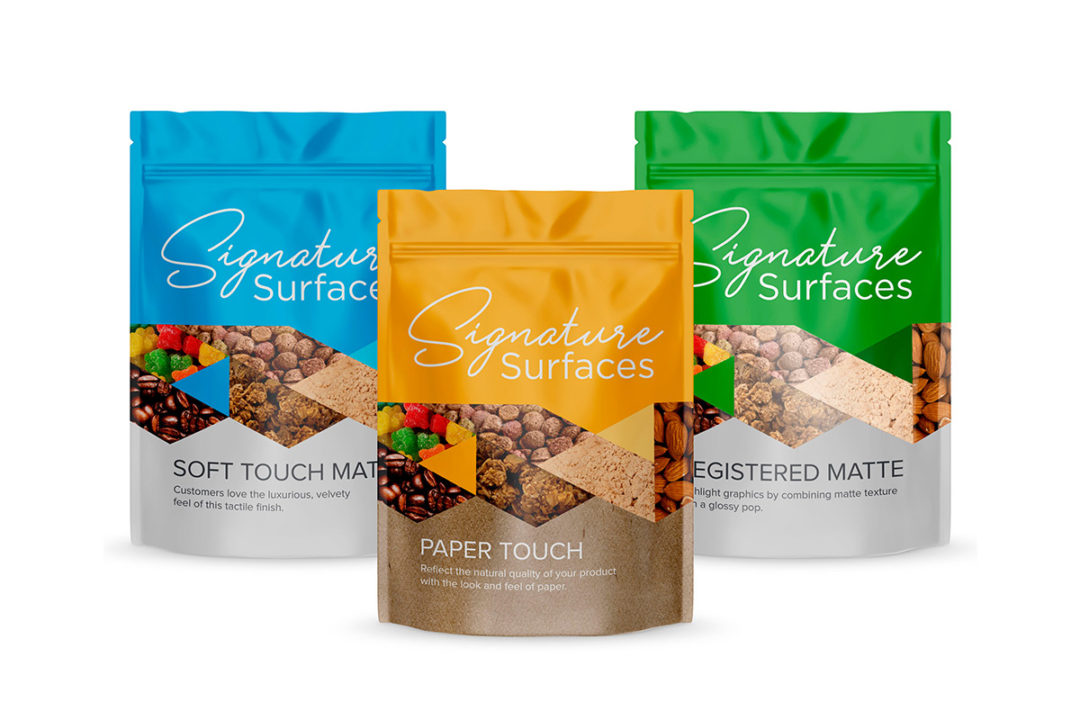 ProAmpac Signature Surfaces flexible packaging line: Soft Touch Matte, Paper Touch and Registered Matte