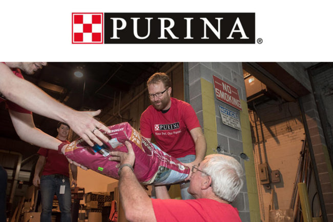 Volunteers donating Purina pet food to Hurricane Michael victims.