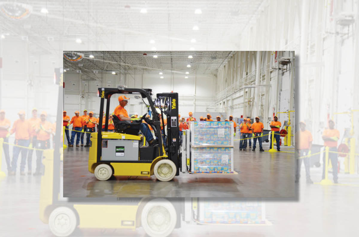Fork truck with pallet Purina distribution center