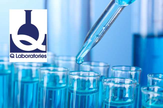 Q Laboratories logo, Adobe Stock scientific testing image (©STOCKR - STOCK.ADOBE.COM)
