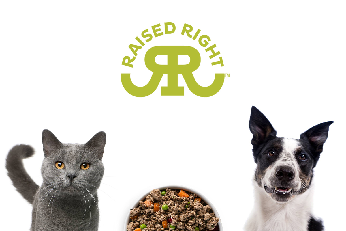 Raised Right logo and image of cat and dog and food