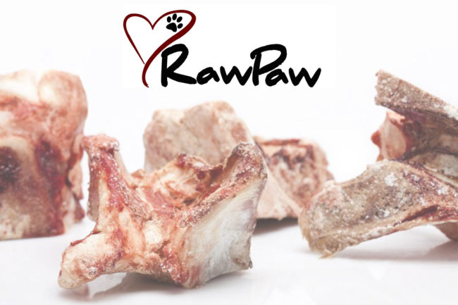 Raw meat and RawPaw Natural Foods logo
