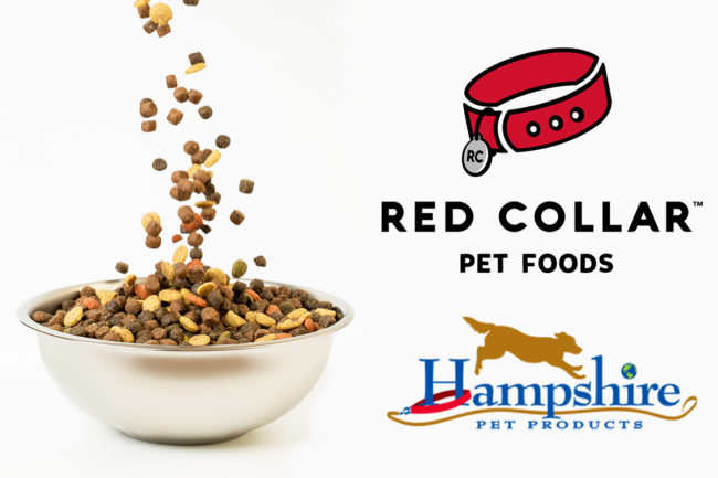 Red Collar Pet Foods and Hampshire Pet Products logos with dog food bowl (©STOCKR - STOCK.ADOBE.COM)