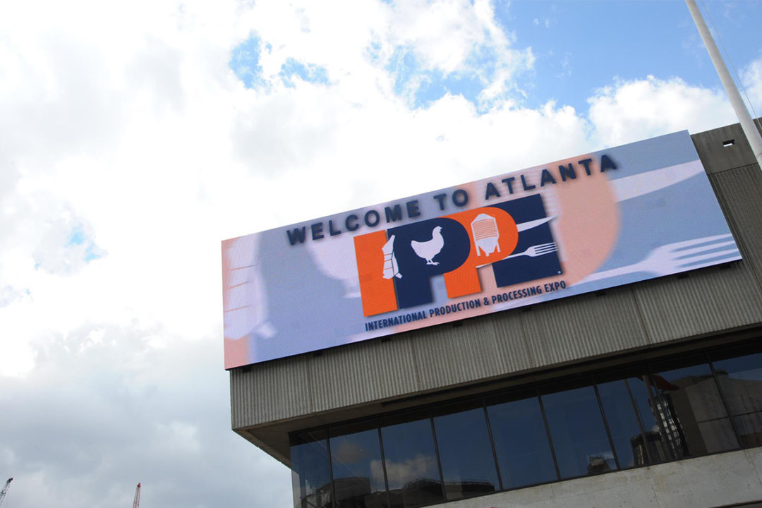 """International Production & Processing Expo (IPPE) welcome banner: """"Welcome to Atlanta,"""" with IPPE logo"""