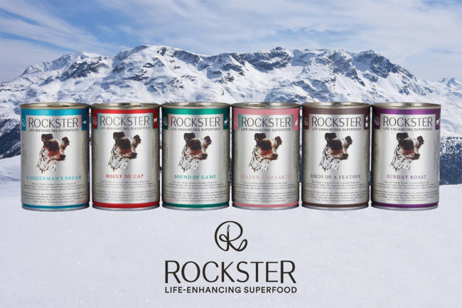 Rockster canned pet food, six formulas: A Fisherman's Dream, Boeuf Du Cap, Sound of Game, Heaven and Earth, Birds of a Feather, Sunday Roast