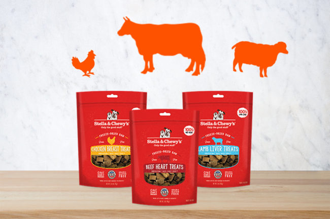 Stella & Chewy's single-ingredient dog treats: beef heart, chicken breast and lamb liver