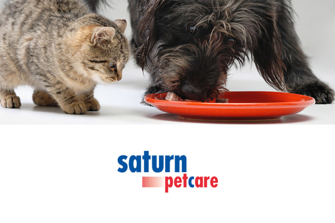 Saturn Petcare logo, dog and cat eating