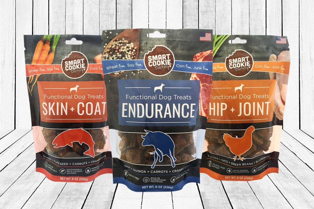 New package designs for Smart Cookie Barkery's Functional Dog Treats line