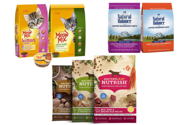 Meow Mix, Nature's Balance and Nutrish pet foods