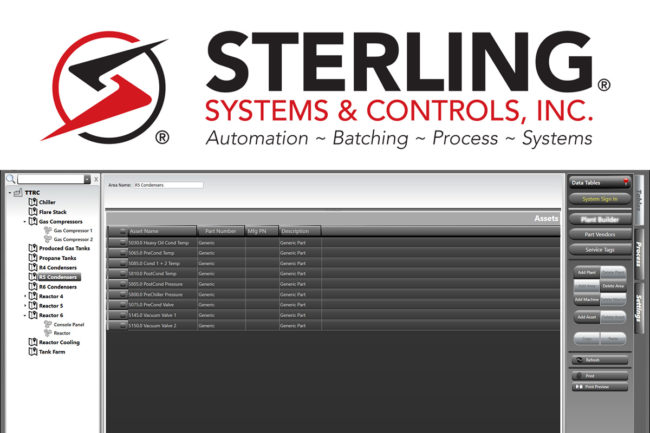 Sterling Systems & Controls' preventative maintenance software PMPlanR user interface
